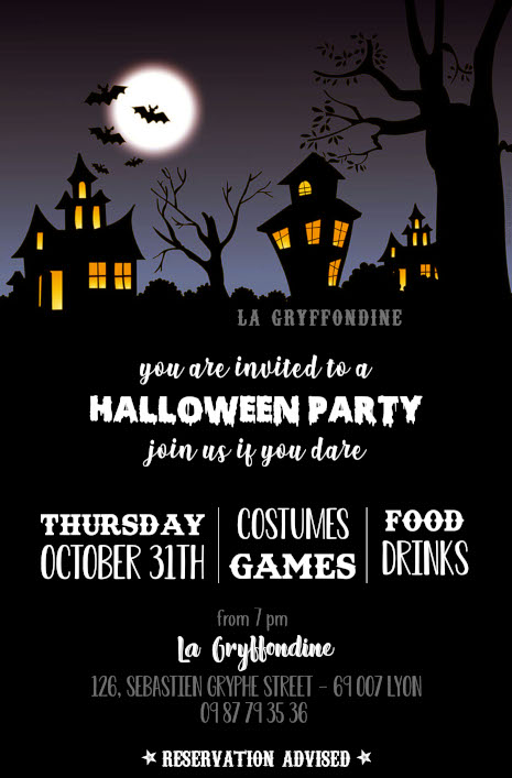 Invitation Halloween Party à la Gryffondine